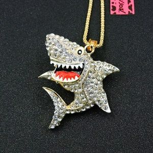 Betsey Johnson women's White Shark Necklace